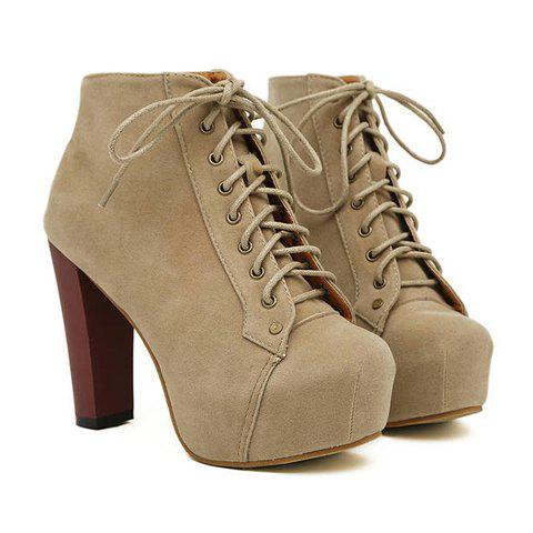 New Arrival Joker Solid Color and Increased Internal Design Ankle Boots For Women - CAMEL 36