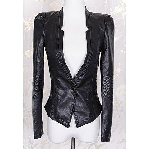 Fashionable Style Solid Color Zipper Long Sleeve Coat For Women - BLACK S