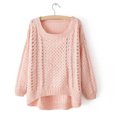Women's Plus Size Openwork High-Low Hem Cable Knit Sweater - PINK ONE SIZE
