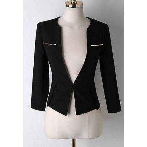 Sophisticated Style Solid Color Sequined 3/4 Sleeve Blazer For Women - BLACK M