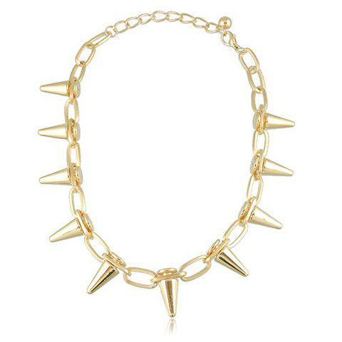 Characteristic Rivet Embellished Hollow Design Alloy Necklace For Women - GOLD