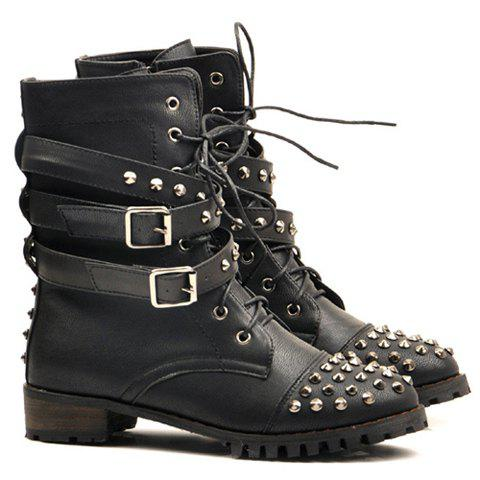 New Arrival Black and Rivets Design Pretty Combat Boots For Women - BLACK 39