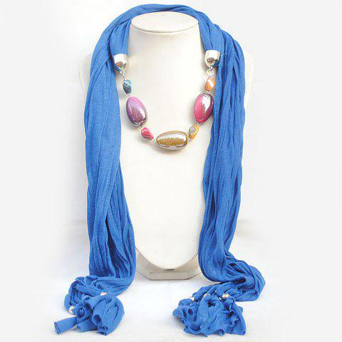 Elegant Bohemia Style Colorful Gemstone Pendant Embellished Scarf For Women - COLOR ASSORTED