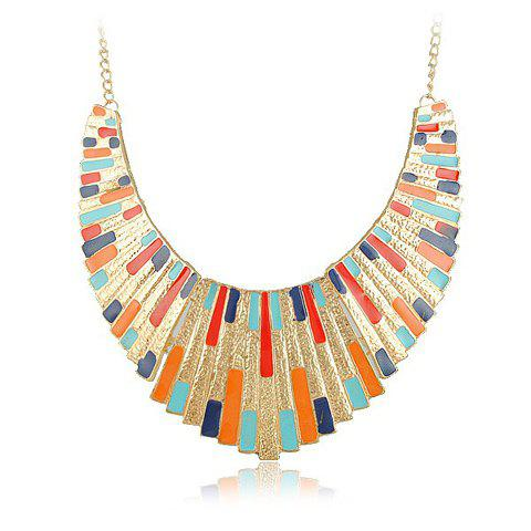 Stylish Fan Shape Color Glazed Necklace For Women - COLOR ASSORTED