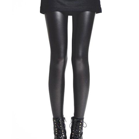 Women's PU Leather Solid Color Narrow Feet Thickened Fleece Lined Stylish Leggings - BLACK ONE SIZE