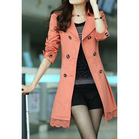 Fashionable Style Lace Splicing Double-Breasted Polyester Long Sleeves Women's Dust Coat - JACINTH M