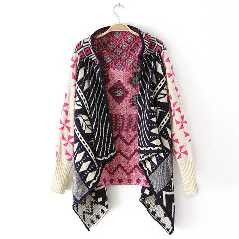 Chic Colored Irregular Geometric Pattern Design Long Sleeves Knitwear Cardigan - PURPLE ONE SIZE