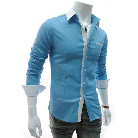 Fashion Style Color Block Shirt Collar Long Sleeves Slimming Polyester Shirt For Men - SKY BLUE XL