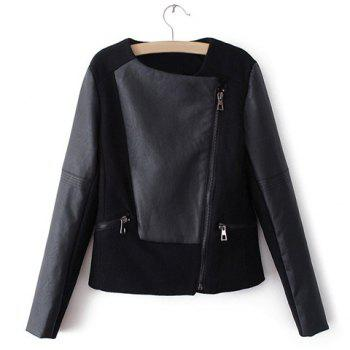 Long Sleeve PU Leather Splicing Jacket