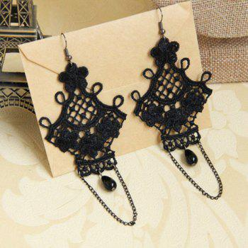 Pair of Flower Bead Tassel Openwork Drop Earrings