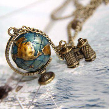Fashionable Stylish Color Glazed Tellurion Shape Pendant Decorated Sweater Chain Necklace For Women