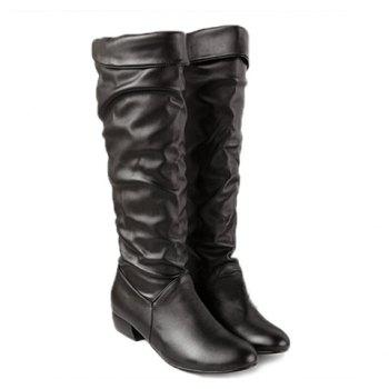 New Arrival Solid Color and Ruffle Design Knee-High Boots For Women - BLACK 38