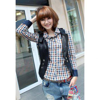 Preppy Style Shirt Collar Single-Breasted Checked Blue Cuff Long Sleeves Women's Shirt