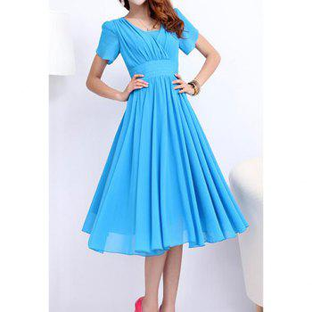 Elegant Style V-Neck Solid Color Ruffle Short Sleeve Chiffon Dress For Women