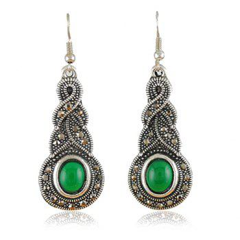 Faux Jade Alloy Drop Earrings