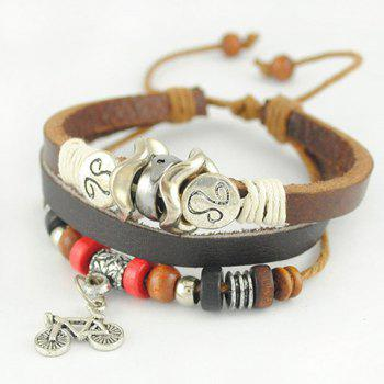 Wooden Bead Embellished Bicycle Pendant Multi-Layered Charm Bracelet