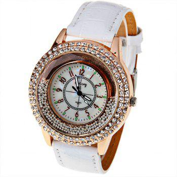 Gogoey051 Quartz Watch with 12 Arabic Numbers Indicate Runing Dish Bead Leather Watch Band - White