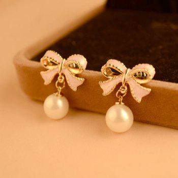 Pair of Bowknot Faux Pearl Pendant Earrings