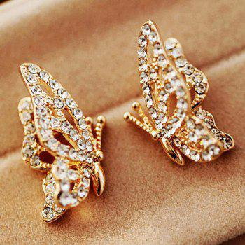 Pair Of Sweet Rhinestone Embellished Butterfly Shape Stud Earrings