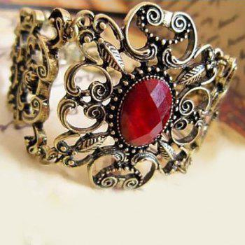 Fake Ruby Inlaid Filigree Floral Bracelet