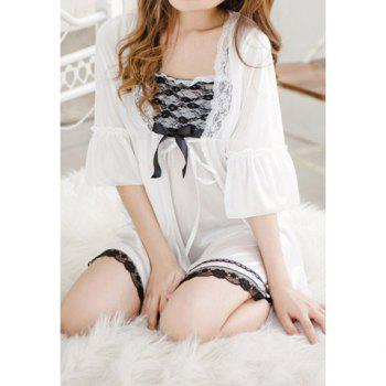 Women's Glamour Lace Splicing White Baby Dolls Sexy Lingerie