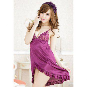 Solid Color Pleated Irregular Hem Transluent Silk Nightdress