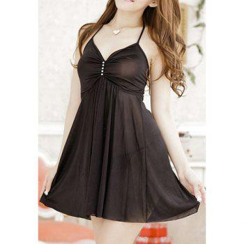 Women's Charming Halterneck Solid Color Baby Dolls - BLACK ONE SIZE
