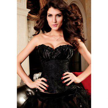 Women's Charming Lace Up Embroidery Pleated Strapless Corsets
