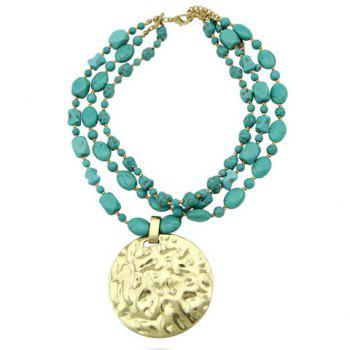 Vintage Round Pendant Multi-Layered Bead Chain Necklace For Women