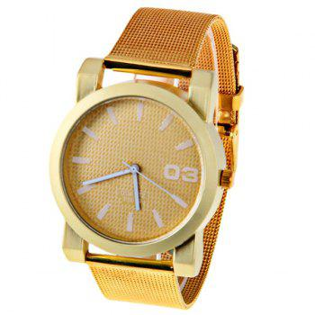 No.F5039 Men Quartz Watch 1 Arabic Numbers and Strips Indicate Round Dial Gold-plated Watchband - Red Strips - WHITE WHITE