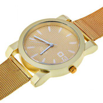 No.F5039 Men Quartz Watch 1 Arabic Numbers and Strips Indicate Round Dial Gold-plated Watchband - Red Strips -  WHITE