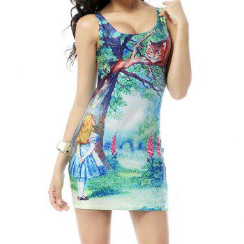 Special Print Sleeveless Polyester Casual Style High Elasticity Women's Dress