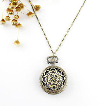 Filagree Flower Pocket Watch Pendant Necklace - AS THE PICTURE AS THE PICTURE