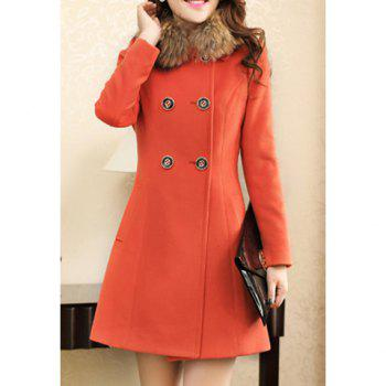 Worsted Double-Breasted Ladylike Style Long Sleeves Women's Coat