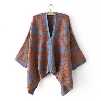 Retro Style Zipper Abstract Print Irregular Batwing Sleeves Loose-Fitting Women's Cardigans