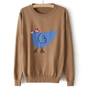 Casual Scoop Collar Chicken Print Long Sleeves Solid Color Women's Sweater