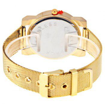 No.F5039 Men Quartz Watch 1 Arabic Numbers and Strips Indicate Round Dial Gold-plated Watchband - Red Strips - RED