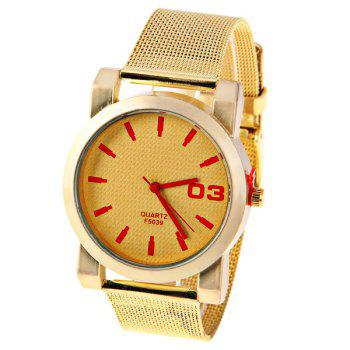 No.F5039 Men Quartz Watch 1 Arabic Numbers and Strips Indicate Round Dial Gold-plated Watchband - Red Strips