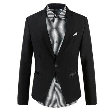 Korean Style Lapel Neck Purfled Pockets Design Long Sleeves Polyester Professional Blazer For Men