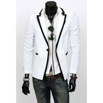 Korean Style Slimming Color Block Purfled Lapel Neck Long Sleeves Polyester Blazer For Men