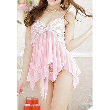 Women's Irregular Hem Lace Splicing Voile Baby Dolls Sexy Lingerie