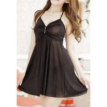 Women's Charming Halterneck Solid Color Baby Dolls