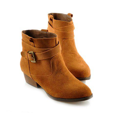 British Style Pure Color And Buckle Design Women S Boots