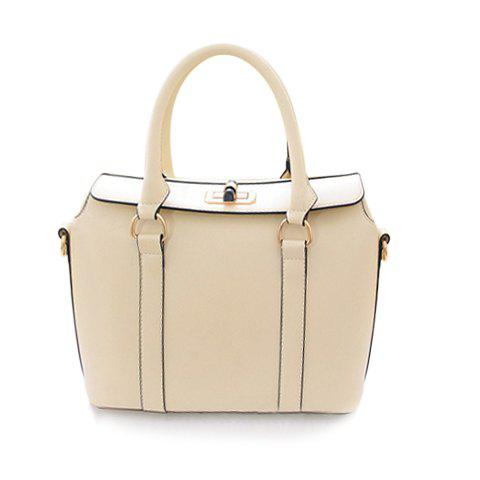 Stylish Candy Color and Twist-Lock Design Women's Tote Bag - WHITE