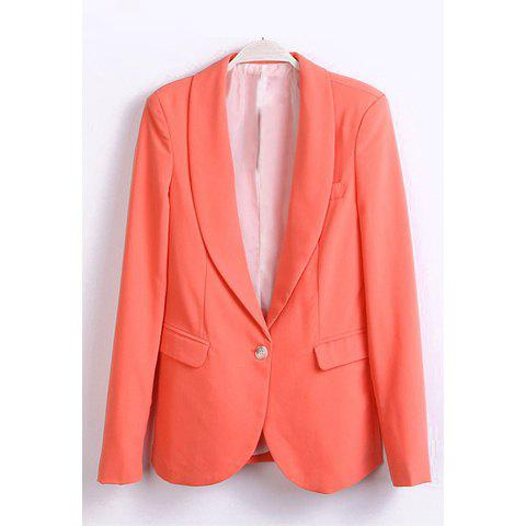 Refreshing Style Candy Color Polyester Long Sleeves Lapel Collar Women's Blazer - WATERMELON RED L