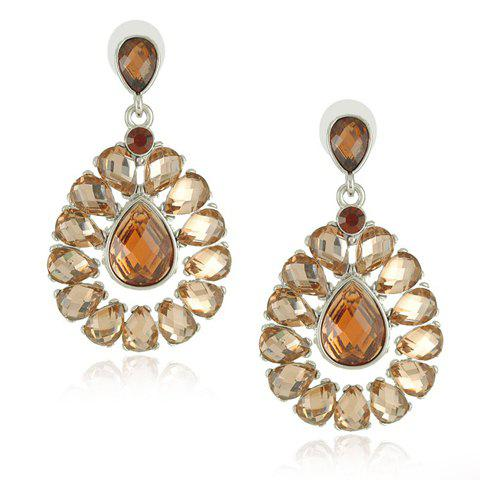 Pair of Colored Gemstone Embellished Waterdrop Pendant Earrings For Women - COLOR ASSORTED
