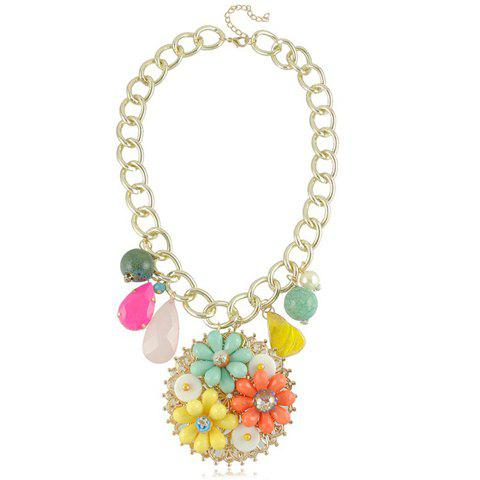 Living Color Flower Embellished Round Pendant Beaded Wide Alloy Necklace For Women