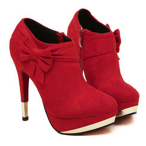 New Arrival Side Bowknot and Sexy Heel Design Ankle Boots For Women - RED 36