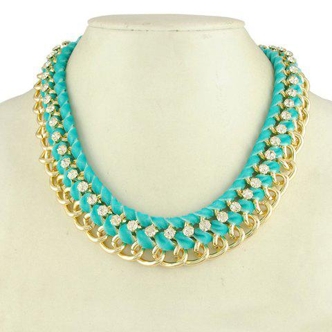 Rhinestoned Layered Knitted Design Necklace - COLOR ASSORTED