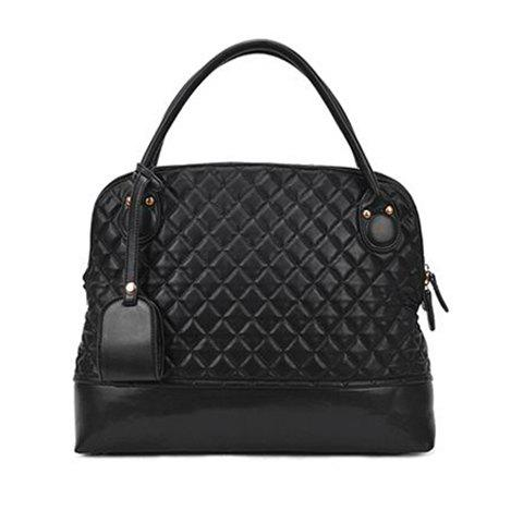New Arrival Black Checked and Rivets Design Tote Bag For Women - BLACK
